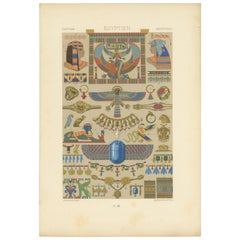 Pl. 3 Antique Print of Egyptian Ornaments by Racinet, 'circa 1890'