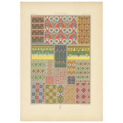 Pl. 3 Antique Print of Egyptian Painted Tomb Ceiling by Racinet, 'circa 1890'