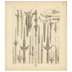 Pl. 31 Antique Print of Asian Swords by Racinet, 'circa 1880'