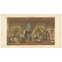 Pl. 32 Antique Print of European Middle Ages Living Room by Racinet 'circa 1880'