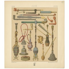 Pl. 33 Antique Print of Asian Smoking Pipes by Racinet, 'circa 1880'