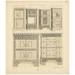 Pl. 33 Antique Print of European 15th Century Furniture by Racinet, circa 1880