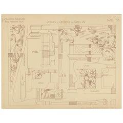 Pl. 33 Antique Print of Furniture Details by Kramer, circa 1910