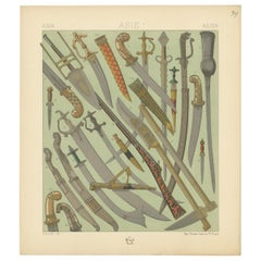 Pl. 34 Antique Print of Asian Swords by Racinet, 'circa 1880'