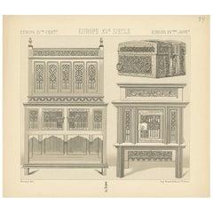 Pl. 34 Antique Print of European 15th Century Furniture by Racinet, circa 1880