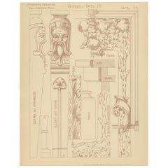 Pl. 34 Antique Print of Furniture Details by Kramer, circa 1910