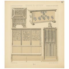 Pl 35 Antique Print of European 15th-16th Century Furniture by Racinet