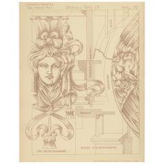 Pl. 35 Antique Print of Furniture Details by Kramer 'circa 1910'