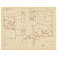 Pl. 36 Antique Print of Furniture Details by Kramer, circa 1910