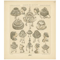 Pl 37 Antique Print of European 15th-16th Century Decorative Objects by Racinet