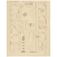 Pl. 37 Antique Print of Furniture Details by Kramer, circa 1910