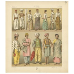 Pl. 38 Antique Print of Asian Clothing by Racinet, 'circa 1880'