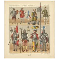 Pl 38 Antique Print of European 15th-16th Century Armament by Racinet