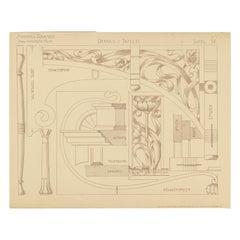 Pl. 38 Antique Print of Furniture Details by Kramer 'circa 1910'