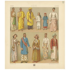 Pl. 39 Antique Print of Asian Clothing by Racinet, 'circa 1880'