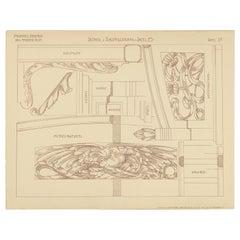 Pl. 39 Antique Print of Furniture Details by Kramer, circa 1910