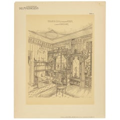 Pl. 4 Antique Print of a Living Room with Bay Window by Kramer, circa 1910