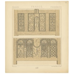 Pl. 4 Antique Print of French Furniture Objects by Racinet, circa 1880