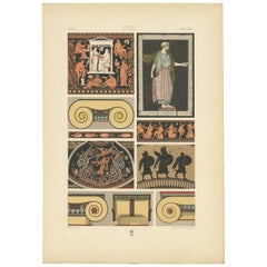 Pl. 4 Antique Print of Greek Vase Paintings and Mosaic by Racinet, 'circa 1890'
