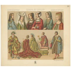 Pl 40 Antique Print of European 15th-16th Century Costumes by Racinet