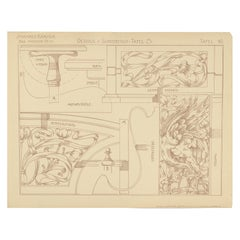 Pl. 40 Antique Print of Furniture Details by Kramer 'circa 1910'