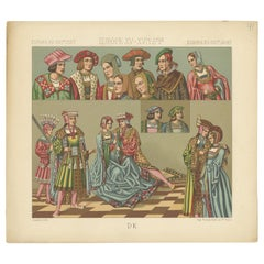 Pl 41 Antique Print of European 15th-16th Century Costumes by Racinet