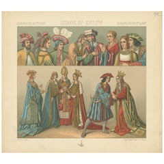 Pl 42 Antique Print of European 15th-16th Century Costumes by Racinet