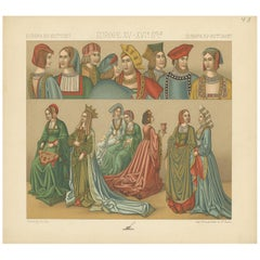 Pl. 43 Antique Print of European 15th-16th Century Costumes, Racinet, circa 1880
