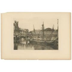 Pl. 47 Antique Print of a Canal in the Giudecca Island of Venice 'circa 1890'