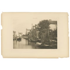 Pl. 48 Antique Print of a Canal in the Giudecca Island of Venice, circa 1890