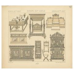 Pl. 48 Antique Print of European XVIth Century Furniture by Racinet, circa 1880