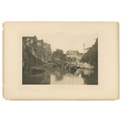 Pl. 49 Antique Print of a Canal in the Giudecca Island of Venice, circa 1890