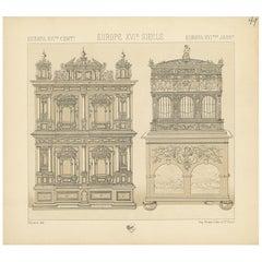 Pl. 49 Antique Print of European XVIth Century Furniture by Racinet, circa 1880