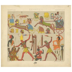 Pl. 5 Antique Print of Egyptian Battle Scenes by Racinet, 'circa 1880'