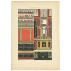 Pl. 5 Antique Print of Greek Roman Wall Paintings by Racinet, 'circa 1890'