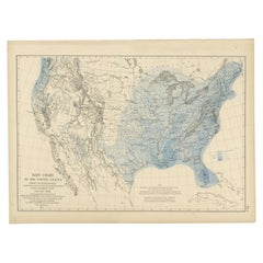 Pl. 5 Antique Rain Chart of the United States by Walker, 1874