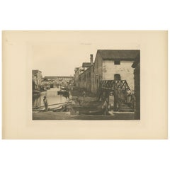 Pl. 50 Antique Print of Canals in the Giudecca Island of Venice 'circa 1890'