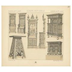 Pl 50 Antique Print of European 16th Century Furniture by Racinet