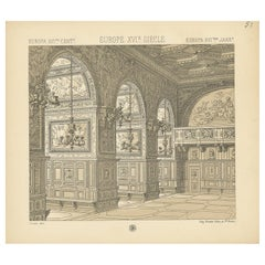 Pl. 51 Antique Print of European 16th Century Architecture by Racinet circa 1880