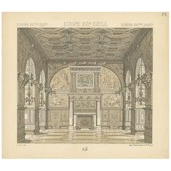 Pl. 52 Antique Print of European 16th Century Architecture, Racinet, circa 1880