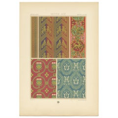 Pl. 53 Antique Print of Middle Ages Design from Textiles by Racinet, circa 1890