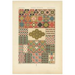 Pl. 54 Antique Print of Roman Byzantine Mosaic Patterns by Racinet, 'circa 1890'