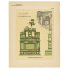 Pl 56 Antique Print of a Sofa and Furniture by Kramer, 'circa 1910'