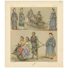 Pl. 56 Antique Print of Asian Costumes by Racinet, 'circa 1880'