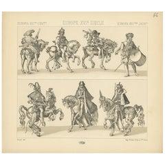 Pl 56 Antique Print of European 16th Century Battle Costumes by Racinet