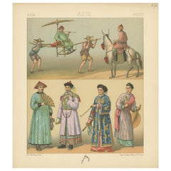 Pl. 57 Antique Print of Asian Costumes by Racinet, 'circa 1880'