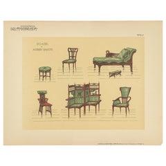 Pl. 57 Antique Print of Seating Furniture by Kramer, circa 1910
