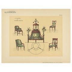 Pl. 58 Antique Print of Seating Furniture by Kramer, circa 1910