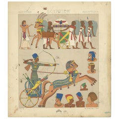 Pl. 6 Antique Print of Egyptian Outfits by Racinet, 'circa 1880'
