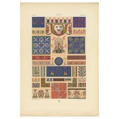 Pl. 6 Antique Print of Greek Ornaments by Racinet, circa 1890
